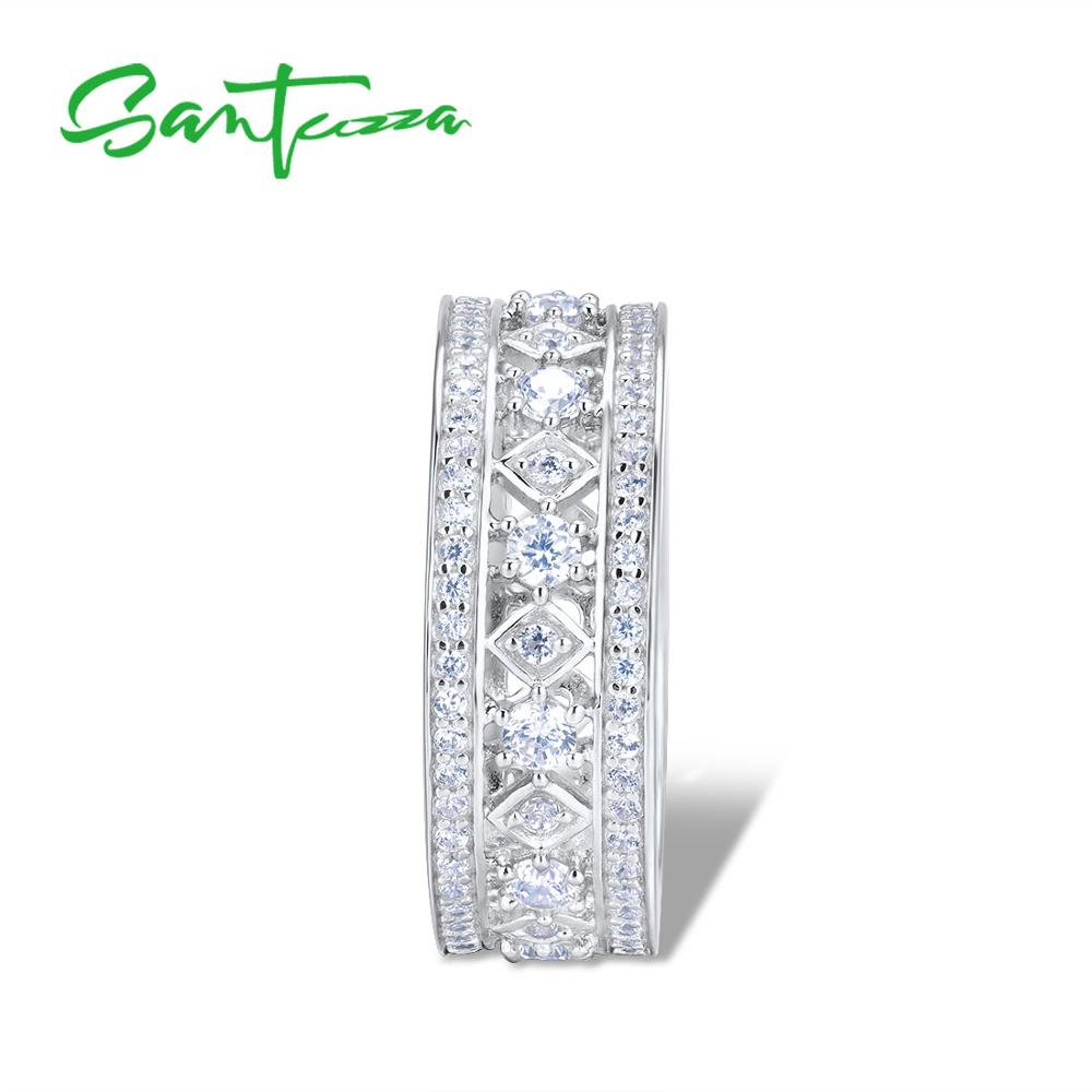 Image 2 - SANTUZZA Silver Engagement Ring For Women Genuine 925 Sterling Silver Wedding Ring Shiny Cubic Zirconia Party Fashion Jewelry-in Rings from Jewelry & Accessories