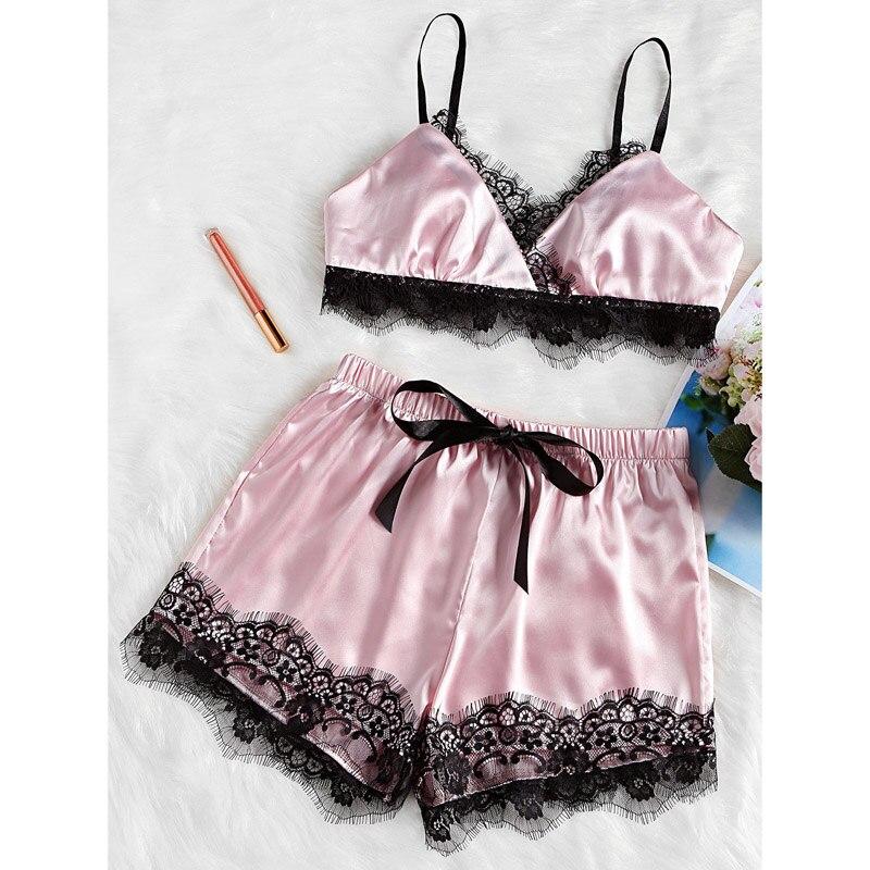 Women\'S Sleepwear Sexy Satin Pajama Set Lace Bodydoll V-Neck Pyjamas Sleeveless Crop Camis Top And Shorts