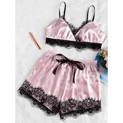 Комплект из 2 предметов Для женщин пикантные атласное кружевное ночное белье Ночная рубашка Babydoll пижамы