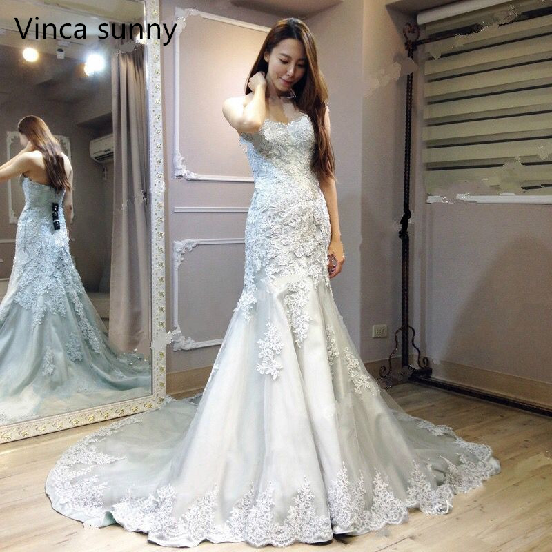 Vinca Sunny modest 2019 Real Photo Gray White Wedding Dresses Mermaid Sweetheart Bodice Lace Up Back