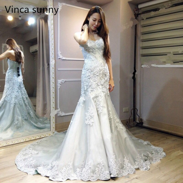 Vinca ensolarado modesto 2019 real foto cinza branco vestidos de casamento sereia querida corpete rendas acima volta nupcial vestido feito sob encomenda