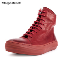 US6 10 Red Boots Men Full Grain Leather Flat Boots Lace Up Zip White Ankle Boots Boys Trendy Winter Sneakers Shoes