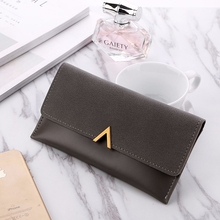 Wallet Matte Color Matching 3 Fold Long Ladies Leather Multi-Card Womens Fashion Handbags
