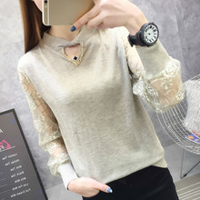 Spring Autumn O-neck Lace Patchwork Knitted Women Sweaters And Pullovers Female Jumper Tricot Tops