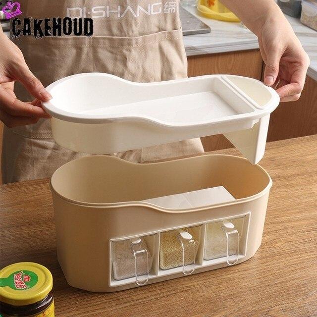 CAKEHOUD maison cuisine Condiment boîte de rangement ensemble multi-fonction en plastique assaisonnement pot baguettes couteau et fourchette salle de stockage