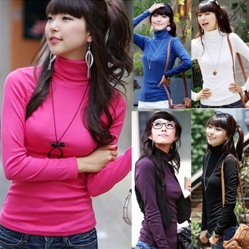 Long Sleeve Turtleneck Women Bottoming Shirts Slim Autumn Spring Tops T Shirts Tees Cotton #20