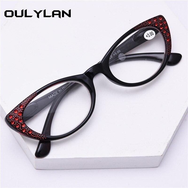 Oulylan Cat Eye Reading Glasses Women Fashion Diamond Presbyopic Eyeglasses Hyperopia Spectacles Ladies Eyewears Portable +2.0
