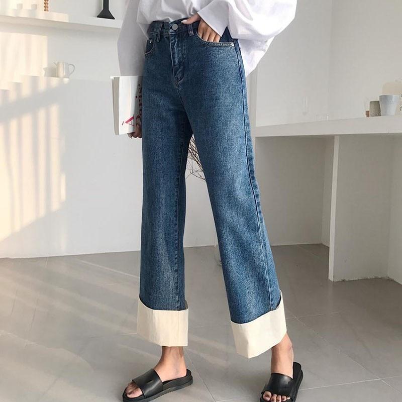 TWOTWINSTYLE الخريف ضرب اللون الأصفاد واسعة الساق الجينز المرأة عالية الخصر خليط الكاحل طول السراويل الإناث 2019 الكورية الأزياء المد-في جينز من ملابس نسائية على  مجموعة 3