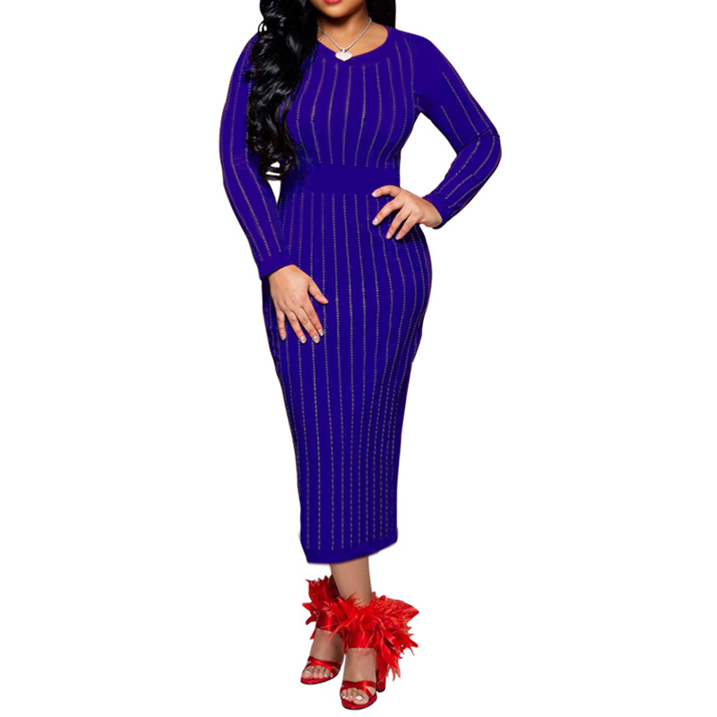 Plus Size Women Stripes Binding Party Dress Long Sleeve Colorful Diamonds Bodycon Sexy Dress Shinny Skinny Dresses Vestidos in Dresses from Women 39 s Clothing