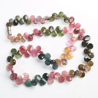 Tourmaline drop faceted 5 10mm multicolor AA necklace 16inch wholesale beads nature FPPJ woman 2018