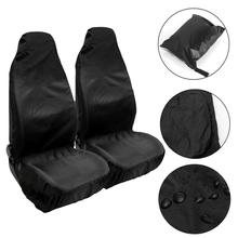 Купить с кэшбэком 2PCS Black Car Seat Cover Solid Washable Durable Folded Auto Seat Cover Protect Seat Against Dust and Dirt Car covers Styling