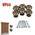 6PCS Vintage Cabinet Door Handles Antique Bronze Door Drawer Cabinet Pull Handle Round Knob