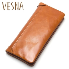 Vesna TAUREN Oil Wax Genuine Leather Men Wallet Long Designer Male Clutch Luxury Brand Men Wallets Zipper Coin Purse Phone Bags цена в Москве и Питере