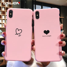 ab74550729 USLION Couples Love Heart Pattern Phone Case For iPhone 6 6s 7 8 Plus Hard  PC Simple Letter Case Cover For iPhone X XS XR Xs Max