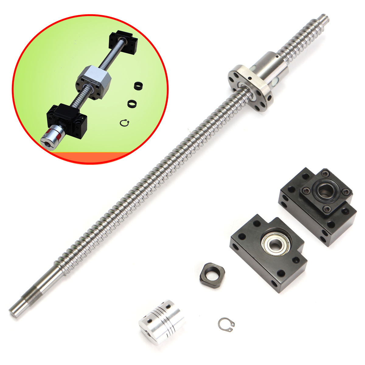WOLIKE 400mm SFU1605 Ball Screw with BK12 BF12 Supports and 6.35x10mm Coupler for CNC Linear Guides