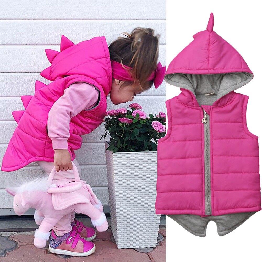 Winter Warm Kids Baby Girl Dinosaur Cotton-padded Waistcoat Jacket Solid Sleeveless Hooded Outwear Zipper Vest 6M-5Y