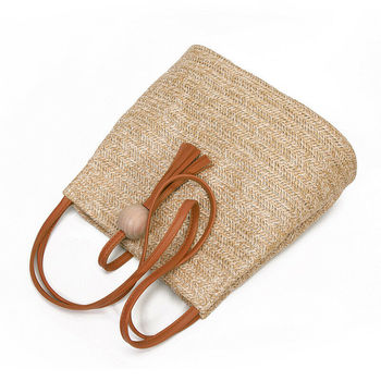 Hand Woven Large Rattan Straw Bag Flower Basket Storage Tote Female Bags Travel Handbag Shopping Braided Hand Bag For Women Girl
