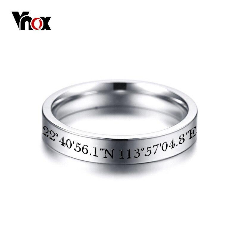 bd46c383e Anillos de boda de acero inoxidable tono plata Vnox para mujeres gratis  grabado personalizado/registro de información de lugar Memorable