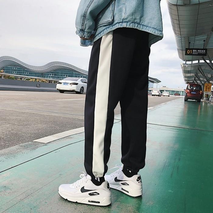 2019 Spring New Stripes Plus Casual track mens harem Pants Trousers Men Black White Purple Joggers Streetwear Sweatpants M 2xl