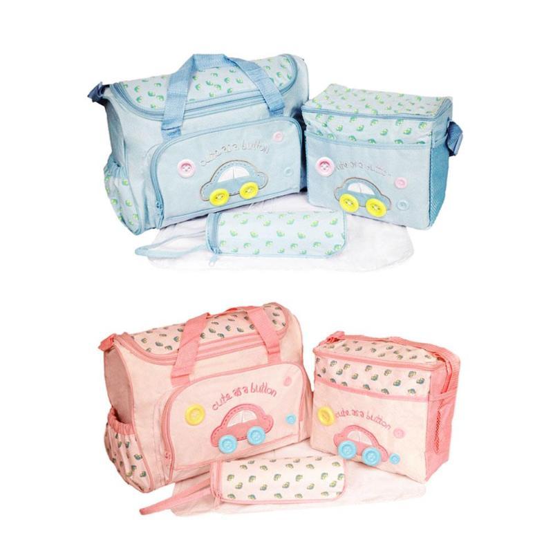 4pcs/set Mummy Bag Mom Waterproof  Cartoon Car Shoulder Bag + Handbag + Bottle Bag + Baby Changing Mat Women Baby Travel Bag Set