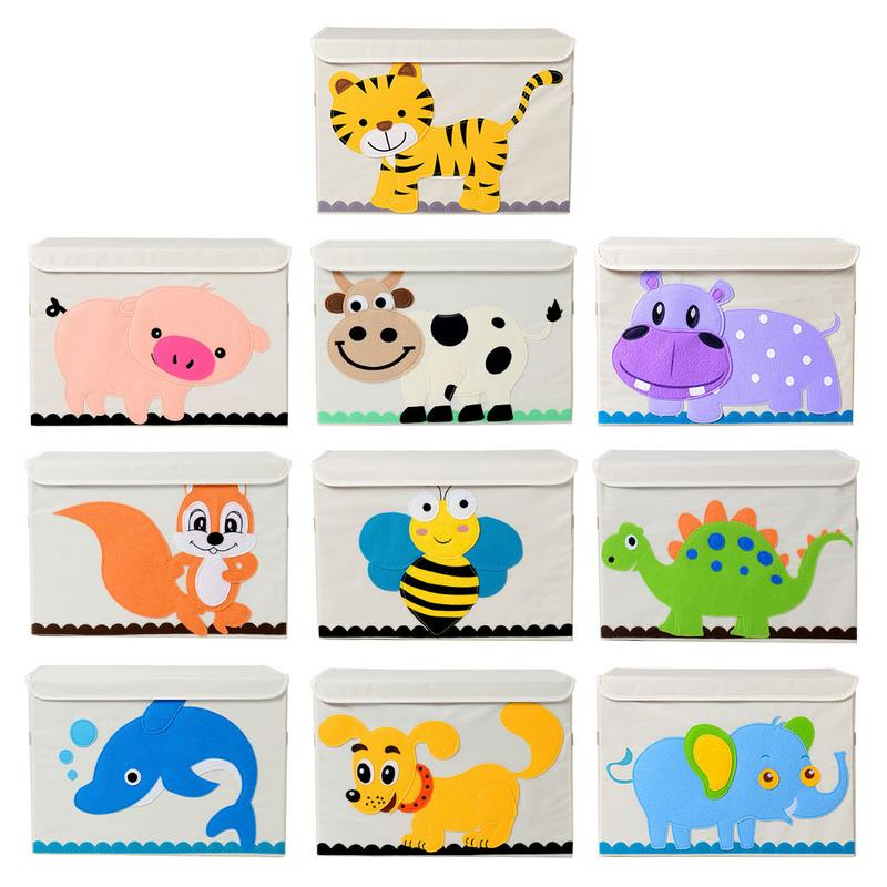 Toy Storage Box Animal Pattern Cartoon Large Collapsible Clothing Organizer Storage Box For Kids Children