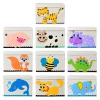 Toy Storage Box Animal Pattern Cartoon Large Collapsible Clothing Organizer Storage Box For Kids Children