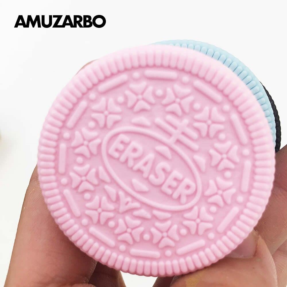 Ластик шоколадный торт клубника печенье Моделирование Школьные принадлежности сэндвич розовый синий черный десерт Стиль Резина