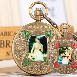 Bronze Taschenuhr für Männer Künstlerische Persönlichkeit Foto Mechanische Taschenuhren für Frauen Automatische-self-winding Anhänger Uhr