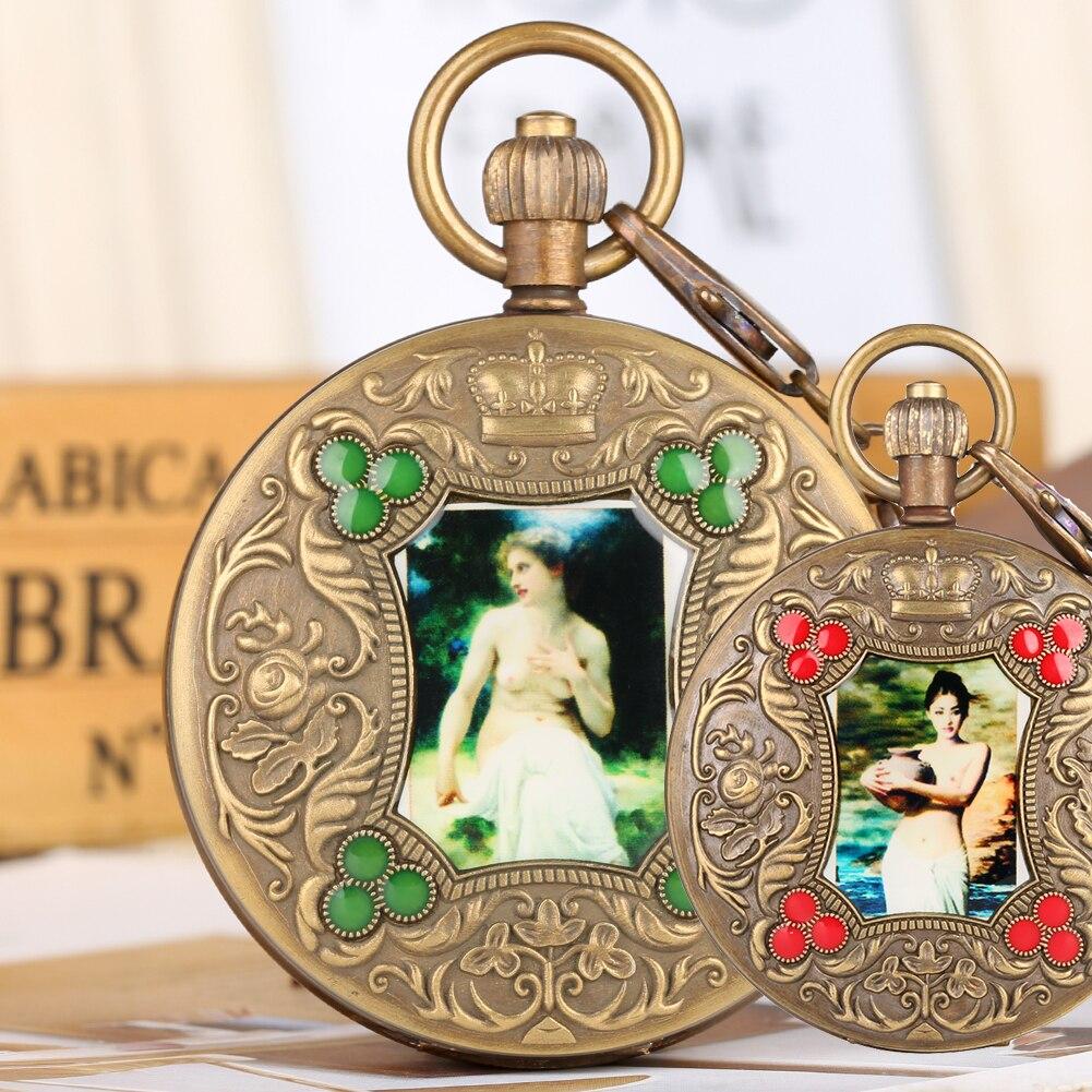 Relógio de Bolso de Bronze para Homem Relógios de Bolso Mecânicos para Mulher Personalidade Artística Foto Automático-auto-liquidação Pingente Relógio