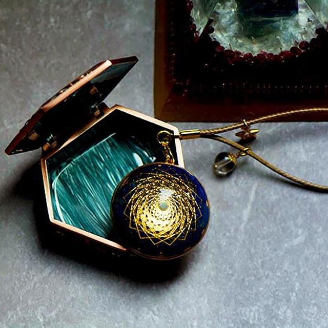 Golden Spiral Orgonite Pendant