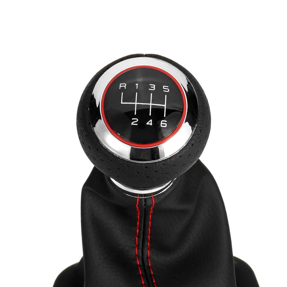 PU Leather 6 Speed Shifter Gear Shift Knob with Boot Cover Handle For Audi A3 S3 8p A4 S4 Q5