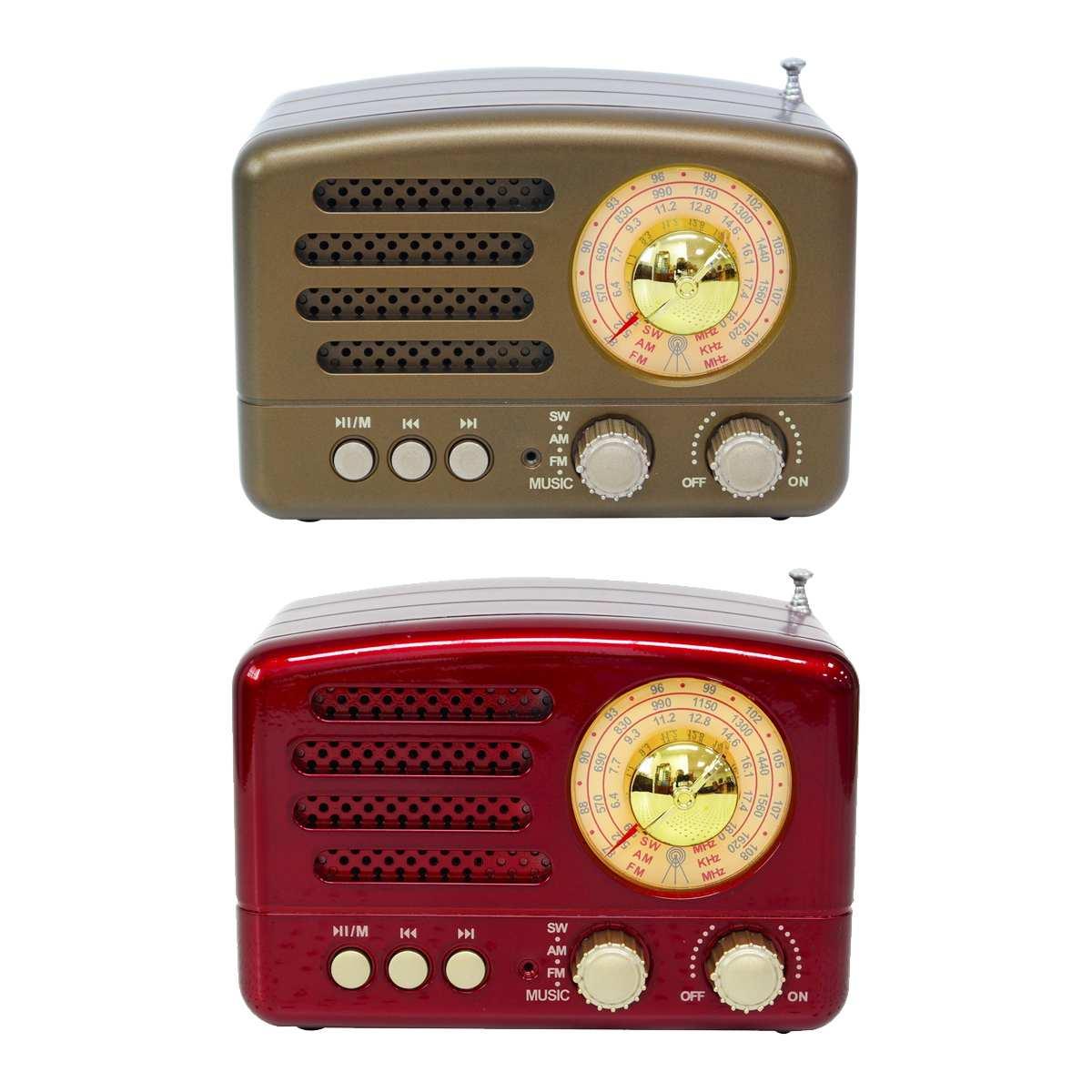 130x90x70mm Red/Coffee Portable Vintage Retro Radio AM FM SW bluetooth Speaker TF Card Slot USB Charging Home Travel Mini Radio