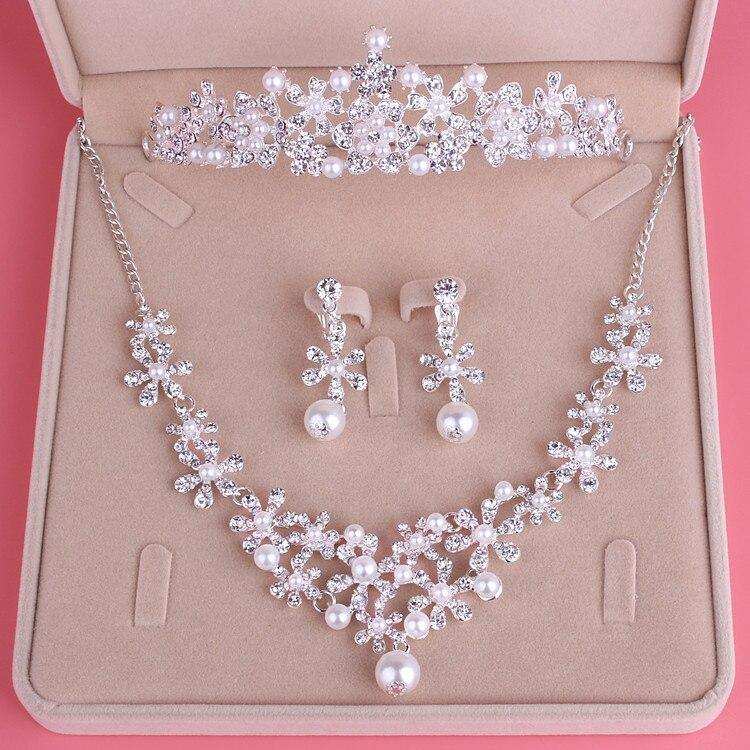 2020 Fashion Bride Ornaments Rhinestone Wedding Jewelery Sets Hairban Necklace Earrings Wedding Headwear Photograph Accessories