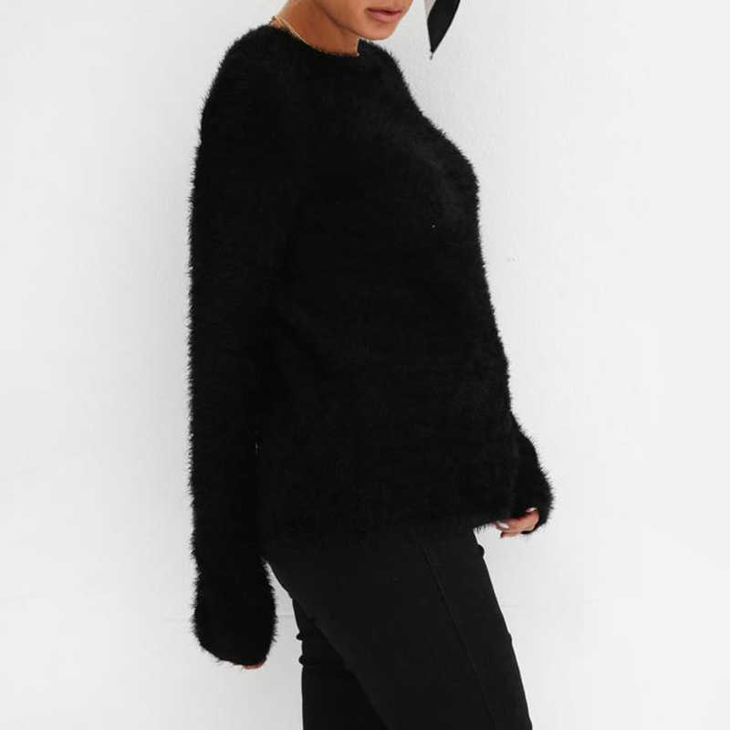 Женский плюшевый Пушистый свитер с круглым вырезом и длинными рукавами; зимние топы; толстовка; блузка