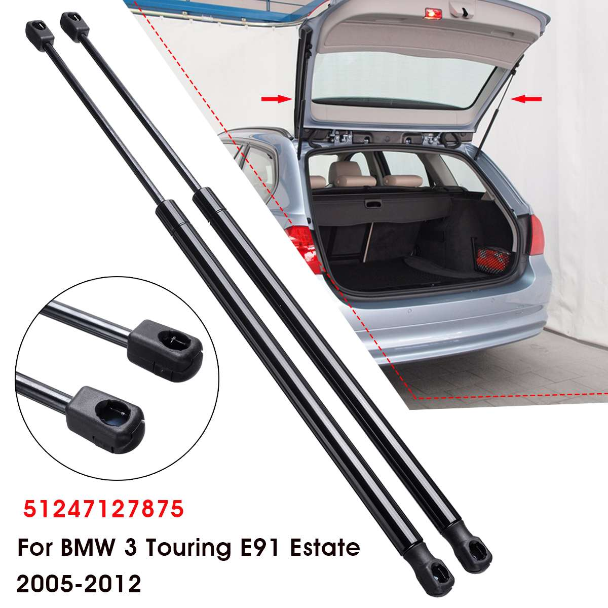 2pcs Car Rear Boot Tailgate Gas Spring Struts For BMW 3 Touring E91 Estate 2005-2012 512471278752pcs Car Rear Boot Tailgate Gas Spring Struts For BMW 3 Touring E91 Estate 2005-2012 51247127875