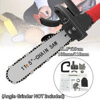 DIY Woodworking Electric Chainsaw Transfer Conversion Head Bracket 11.5 Inch Electric Chainsaw for 100 115 Angle Grinder Set