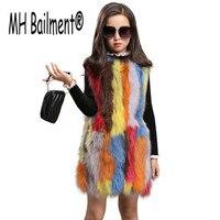 Детский цветной жилет из натурального Лисьего меха, зимний теплый толстый жилет из натурального Лисьего меха для девочек, можно заказать ра