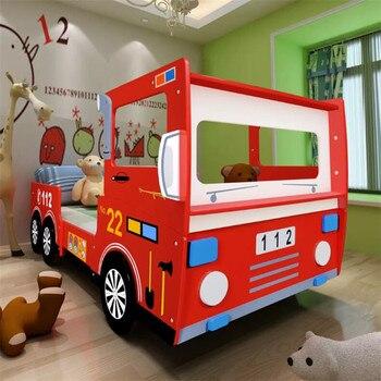 עמיד אש משאית מיטה לילדים 200X90 Cm אדום קריקטורה רכב שארפ ילד מיטת הרכבה קלה