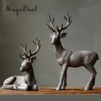 MagiDeal Deer on Table Home Sculpture Garden Ornament Resin Antlers Statue Animal Figurine Figure Miniatures