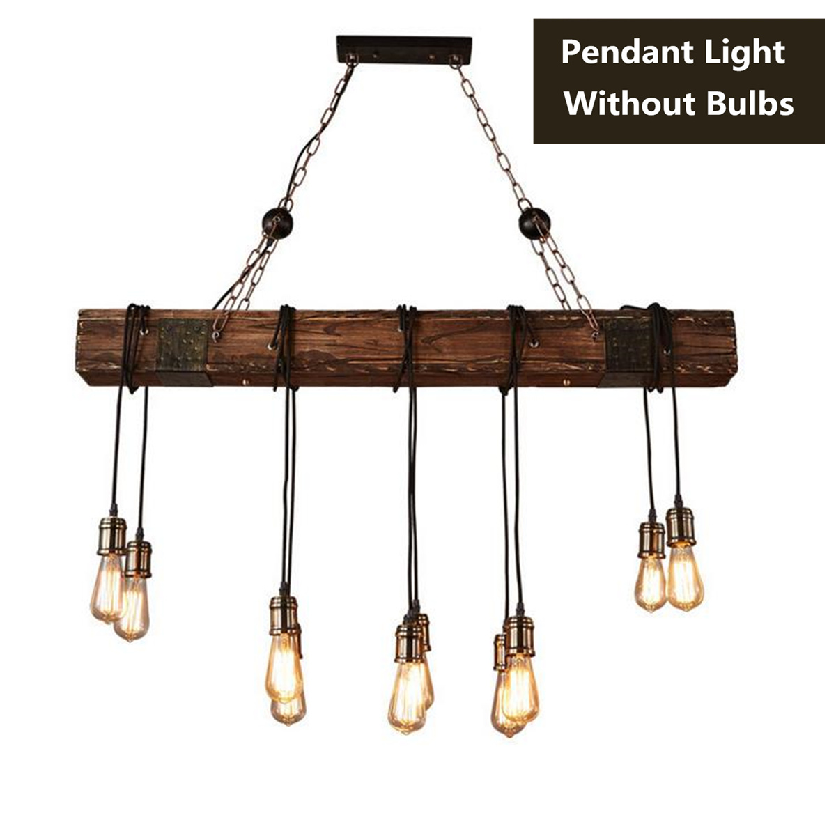 Wood Antique Farmhouse Beam Island Hanging Pendant Lights with 10 Edison Bulb Home Kitchen Restaurant Decorations
