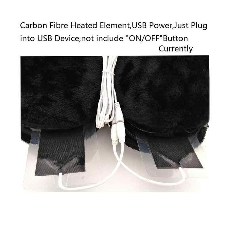 1 para Heizung Slipper Schuhe Mit USB Elektrische Heizung Pad Pantoffel Erhitzt Plüsch Schuh für Füße Kalt Relief Winter Grau braun