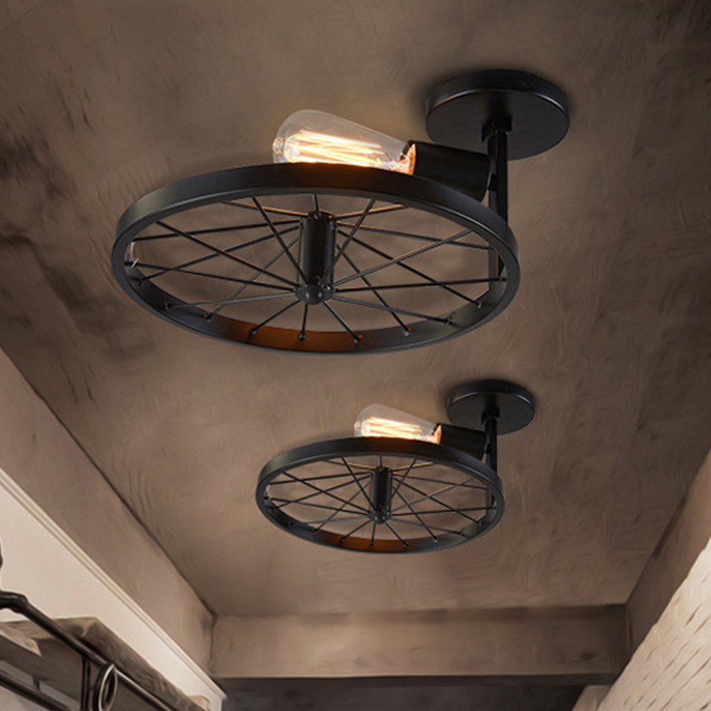 New Fashion Vintage Wheel Wall Lamp Industrial Style Restaurant Cafe Aisle Corridor Led Creative Personality Hallway Lighting Romantic Warm Carefully Selected Materials