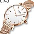 Женские кварцевые часы CIVO  спортивные часы с сетчатым ремешком  2019