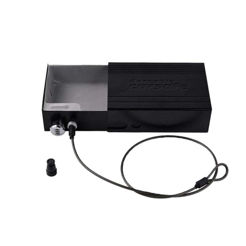 Dans la voiture Portable voiture coffre-fort coffre-fort avec serrure à clé câble de sécurité pour stockage portefeuilles argent lecteurs MP3 bijoux clés