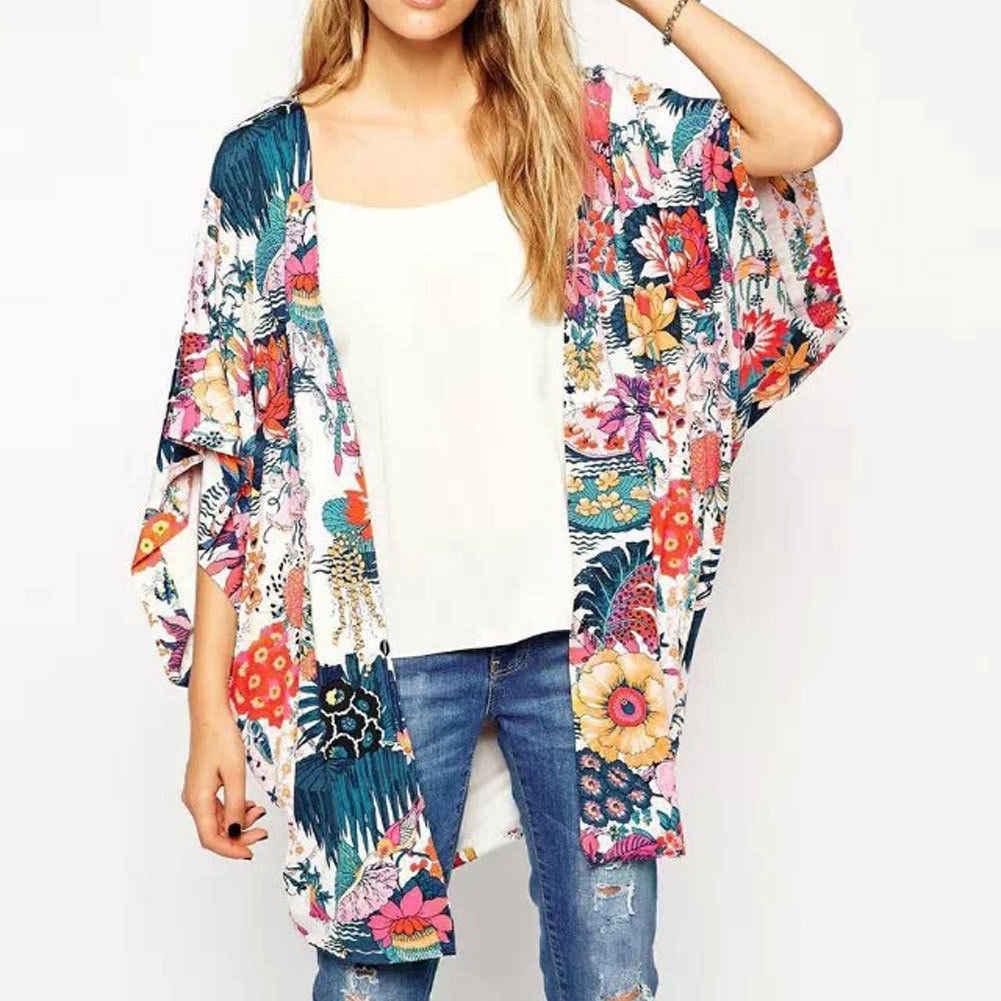 2019 новые модные женские туфли Винтаж цветок шаль кимоно кардиган Boho шифон Топы корректирующие куртка блузка свободные кардиганы пальто для будущих мам плюс разме