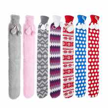 Flannel PVC Extra Long Hot Water Bottles Bag With Knitted Removable Cover For Waist Hand Foot Warming