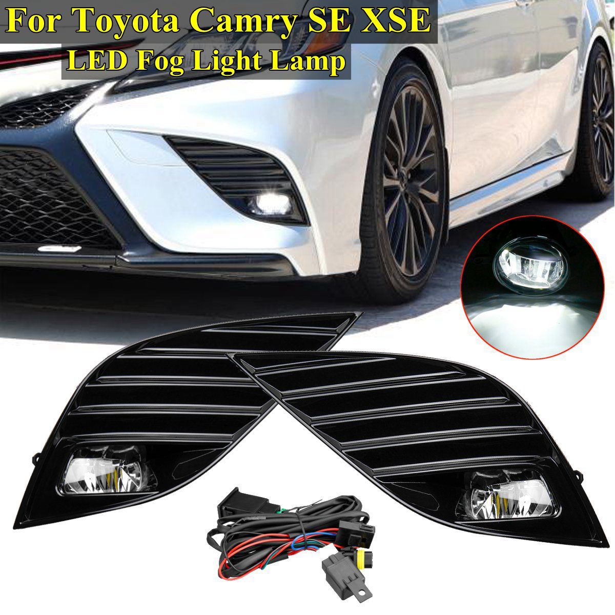 small resolution of detail feedback questions about 1 pair front bumper fog light grill covers trim fog light for toyota camry se xse 2018 2019 car styling replacement on