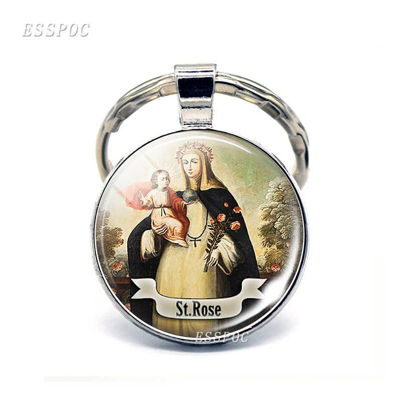 سانت أنتوني المفاتيح سانت كيرينغ الحب ميدالية الهدايا المسيحية الدينية كابوشون الدينية مجوهرات مفتاح سلسلة حلقة