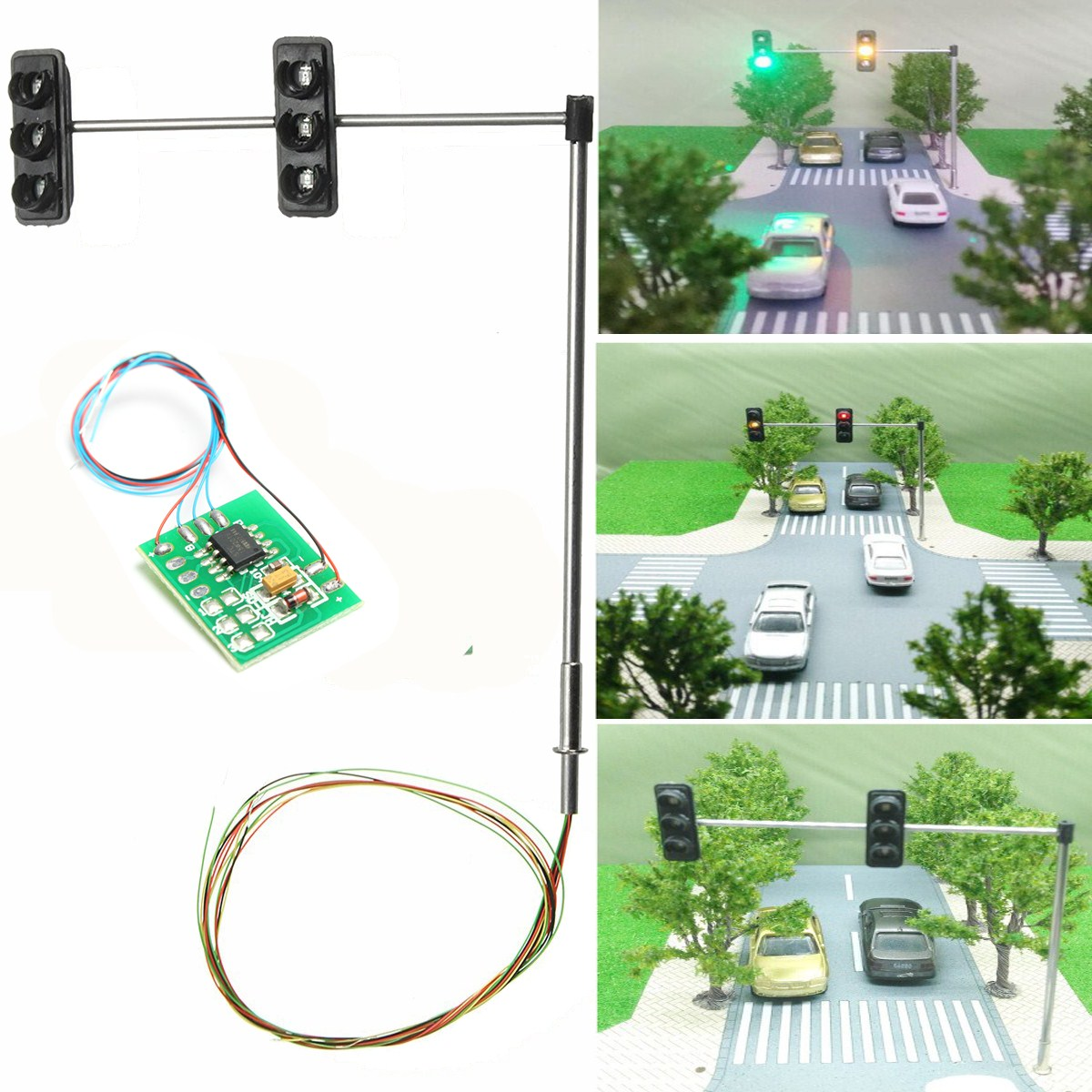 1 Set 3-color Traffic Light Signal HO OO Scale LED Model Architecture Train Railroad Crossing Walk Street + Circuit Board