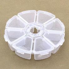 1 шт. 8 слотов Коробка Для Хранения Чехол-органайзер белый прозрачный дисплей ювелирные изделия из бисера Макияж Прозрачные таблетки Круглый дальность контейнер